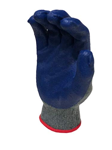 G & F 3108-10 String Knit Palm, Latex Dipped Work Gloves, Nitrile Coated Work Gloves for General Purpose, 10-Pairs Per Pack,Blue, Large