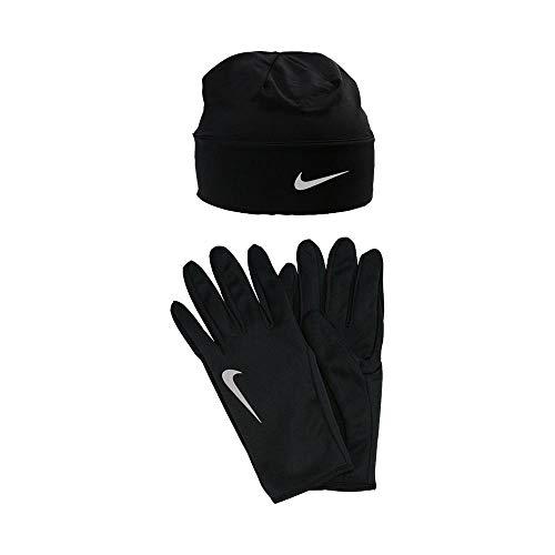 Nike Herren Run Dry Hat undGlove Handschuhe Und Mütze Set, Black/Silver, S/M