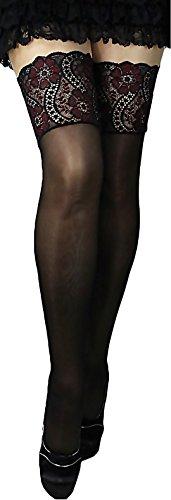 Halterlose Strümpfe 20 den leicht glänzend versch. Spitzenabschlüsse mit Silikon alle Farben und Größen für Braut Hochzeit (XXL, schwarz-rot-schwarz)