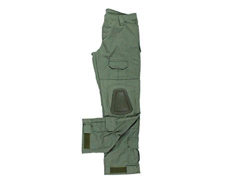 BEGADI Basics Combat Pants/Hose, mit 10 Taschen & abnehmbaren Knieschonern - Alpha Green/Olive, Größe:L