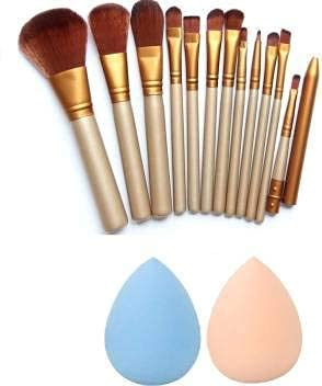 TYA GIRL Cosmetic Collection Makeup Brush Set Of 12 + 2 Pcs Beauty Blender (Pack of 14)