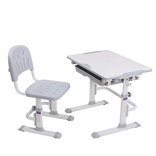 CUBBY Lupin WG Schülerschreibtisch höhenverstellbar, Kinderschreibtisch neigungsverstellbar, Schreibtisch mit Stuhl, E1 MDF/ABS + PP/kaltgewalzter Stahl, Grau, 688x480x520-740 mm