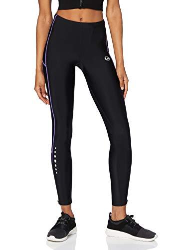 Ultrasport Pantalones largos de correr para mujer, con efecto de compresión y función de secado rápido, Negro/Morado, S