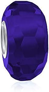 Sólido translúcido real azul facetado Murano vidrio .925 plata esterlina core espaciador se adapta a la pulsera de encanto europeo para las mujeres adolescentes