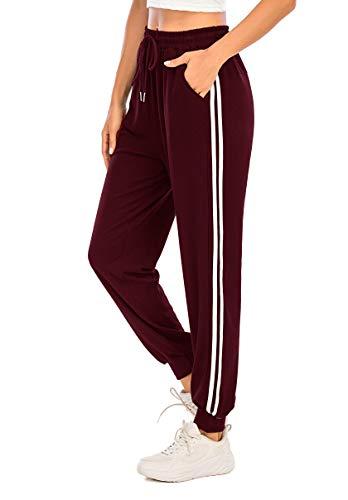 Enjoyoself Pantalones Deportivos para Mujer para Yoga Running Fitness Jogging Danza Pijama de Interior Largos Chándal Casuale Vinotinto M