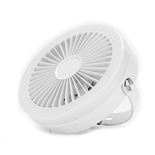 PLOKU Ventilador portátil, pequeño ventilador de techo USB, mini circulador de aire interior, se puede utilizar como luz de noche blanca