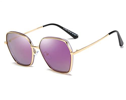 FENGHUAN Marco de metal poligonal polarizado para mujeres Tendencias de moda al aire libre Gafas de solMaestro Elaborado Turismo de playa Gafas de sol NO.4