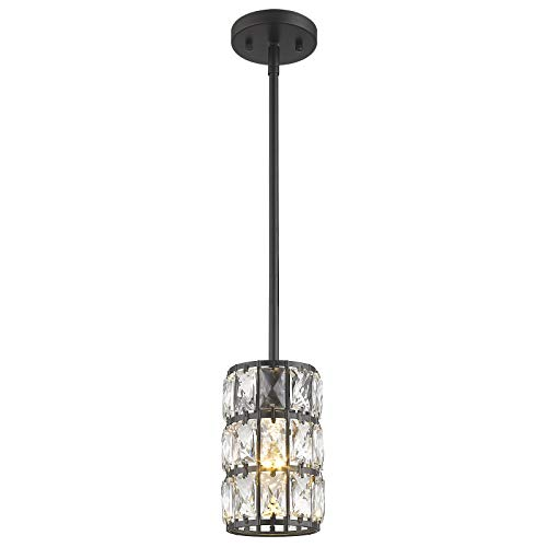 Farmhouse Crystal Pendant Light, CALDION 1-Light Mini Pendant, Adjustable Hanging Ceiling Light for Kitchen Island Dining Room Bedroom, Black Finish, 6869PL-BK