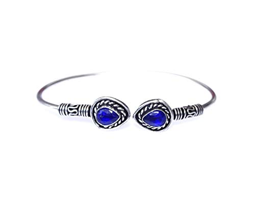 Pulsera de brazalete de moda chapada en plata oxidada 925 para mujer Pulsera de brazalete de piedras preciosas de zafiro azul Pulsera de brazalete hecha a mano Boho Pulsera étnica tribal Joyería