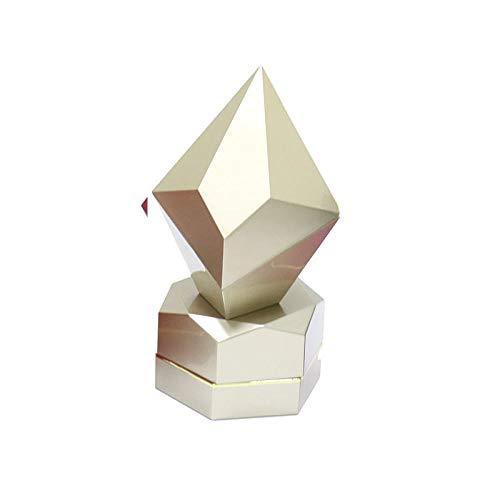 Bakken Verf LED Licht Sieraden Doos Ring Box Sieraden Doos Diamant Type Ring Doos Goud Bewaar Counter Verpakking Box-champagne_Pentagonal ring doos
