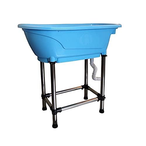 TabloKanvas Bañera para Mascotas Productos para Mascotas Bañera Antideslizante para Perros y Gatos Que No Se Inclina con Patas Altas de Acero Inoxidable (Color : Blue, Size : 95.5x49.5x91cm)