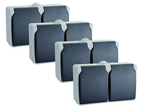 4er-Set 2fach Schutzkontaktsteckdosen mit Deckel Feuchtraum + Außen, 2-Polig, Aquatop, GAO