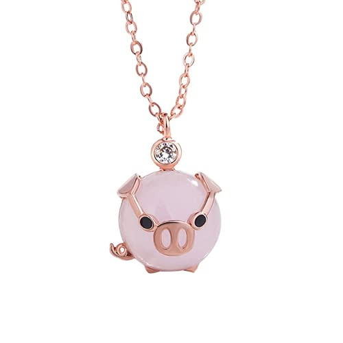 XIGAWAY Colgante de cristal rosa de oro rosa de la moda lindo collar de cerdo de la suerte regalo