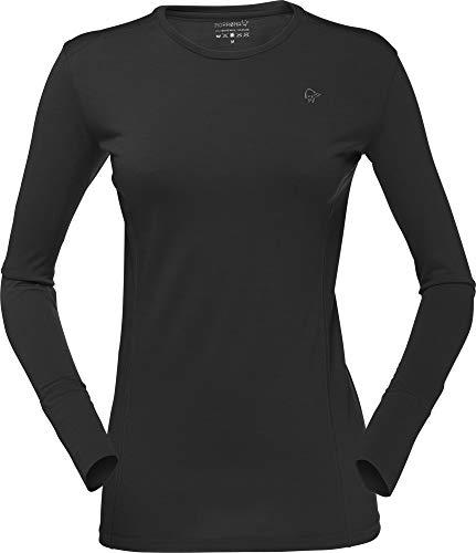 Norrona W Wool Round Neck Schwarz, Damen Merino Unterwäsche, Größe XL - Farbe Caviar