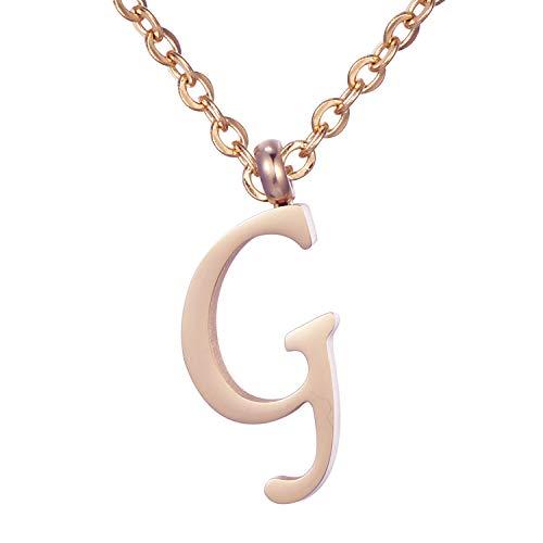 Morella Collana da Donna in Acciaio Inox Oro Rosa con Ciondolo Lettera G