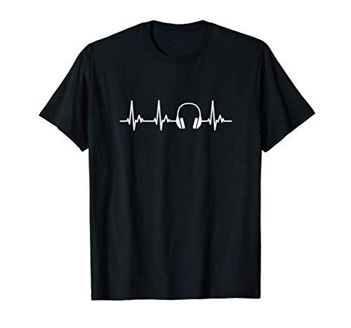 Cascos DJ Mi Corazón Late por la Música Camiseta