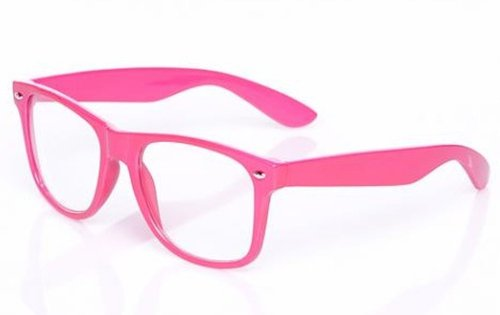 Neon Pink 80s Style Geek Glasses with Clear Lens