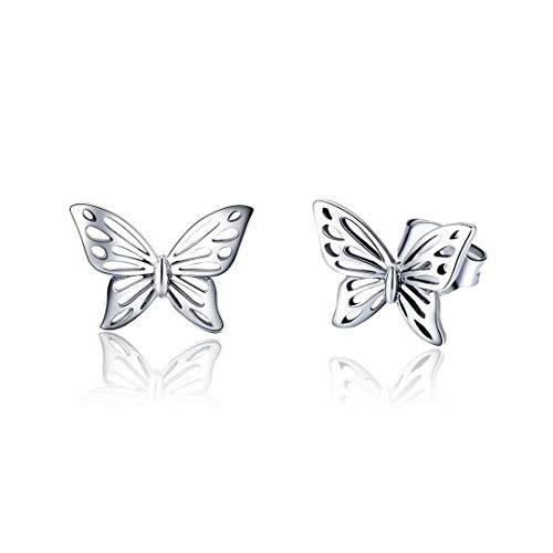 Qings Pendientes Mariposa Plata de Ley 925, Pendientes de Animales Mariposa Hueco Regalos para...