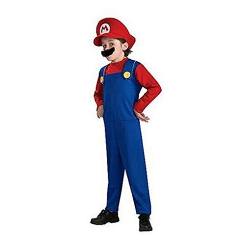 FINDPITAYA - Déguisement MarioLuigiCos Brothers Enfant Cosplay Costume - Rouge (M 115-125cm)