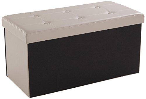 Soliving Jimmy Pouf Pliant avec Rangement, PVC, Gris, 76 x 38 x 38 cm