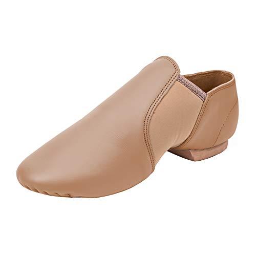 STELLE Leather Jazz Slip-On Dance Shoes for Girls Boys Toddler Kid (Tan, 9MT)