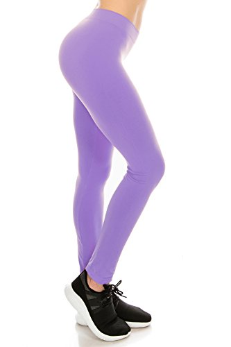 Kurve Premium Ultra Soft High Waist Leggings, UV Protective Fabric UPF 50+ (Made with Love in The USA), Lavender, Large / X-Large