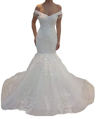 Off The Shoulder Mermaid Wedding Dresses for Bride Beaded Tulle Bridal Gowns with Detachable Train White