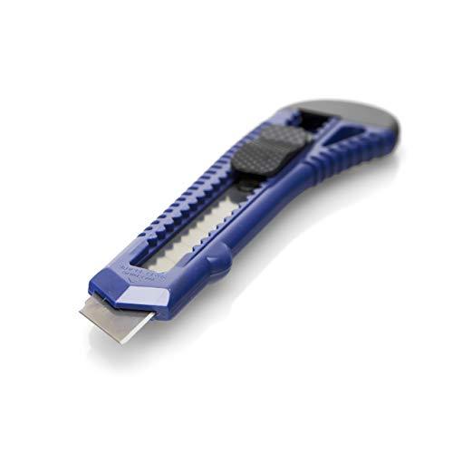 30 Stück Cuttermesser OFFICE POINT | 18mm Abbrechklinge | Teppichmesser mit Wechselklinge | präzise Klingenführung | auch für Bastelarbeiten