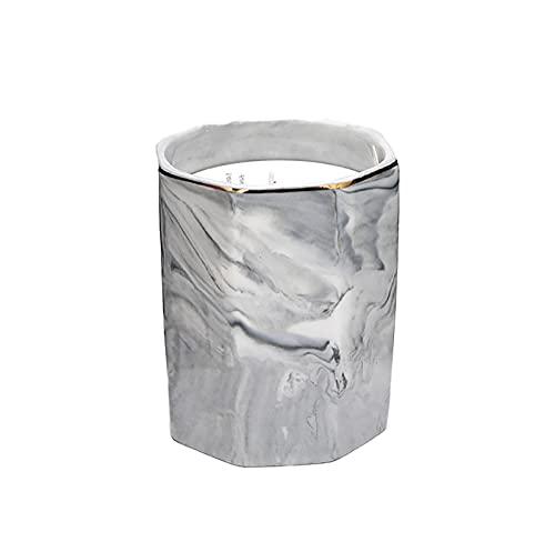 HFDJ Patrón de mármol Octogonal Neutral Planta de cerámica Vela perfumada Cera de Soja sin Humo Aceite Esencial Importado Desodorante para Dormitorio