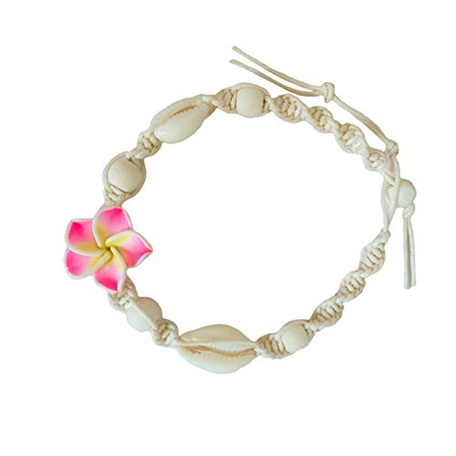 Bigsweety Natural Shell Bracelets Anklet with Plumeria Flower Beach Cowrie Shell Adjustable