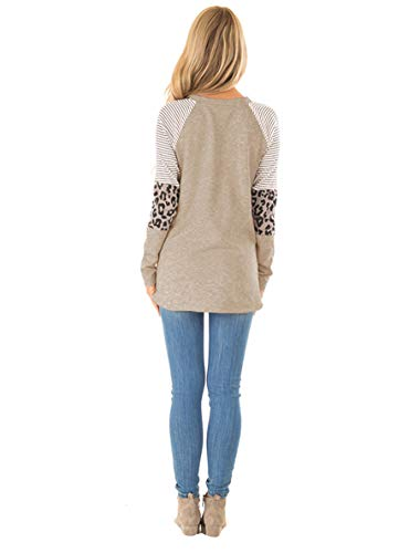Fashion Shopping Floral Find Women's Long Sleeve Leopard Color Block Tunic