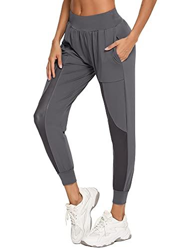 Wayleb Pantalones Deportivos para Mujer Secado Rápido Pantalón Chándal con Bolsillos Costura de Malla Cintura Elástica Pantalones Largos Deporte Mujer Yoga Fitness Jogger Correr Verano,Gris,XL