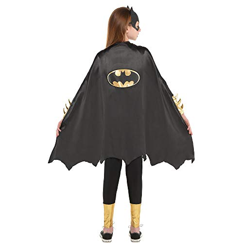 Suit Yourself Batgirl Cape Halloween Costume Accessory for Girls, One Size, 30' L, with Gold Logo