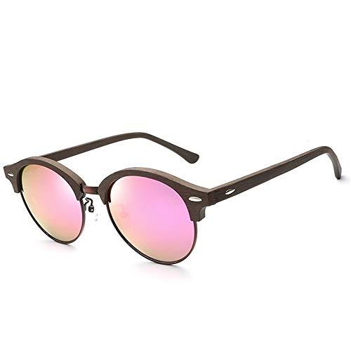 Baianf Fahsion de Madera Completo Marco de Madera Placa de Marco Redondo Gafas de Sol polarizadas Espejo Colorido Personalidad de imitación Grano de Madera Gafas de Sol de Ojo de Gato