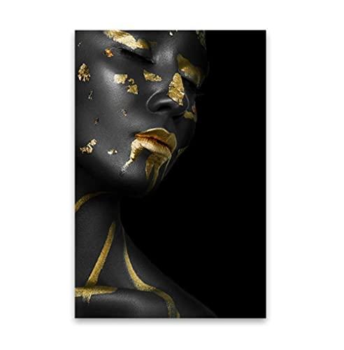 Pintura al óleo de mujer negra y dorada sobre lienzo Cuadros de arte africano Carteles e impresiones Imagen de arte de pared para sala de estar Sin marco50x70cm