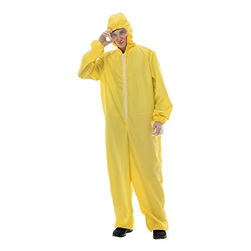 EraSpooky Men Yellow Jumpsuit Hazmat Costume Halloween Party Coverall,Gloves,Goggles