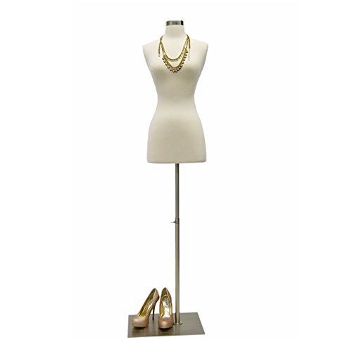 (JF-F2 4W+BS-05) Size 2-4 White Female Fully Pinnable Mannequin Dress Form with Rectangle Brushed Metal Base with Neck Top
