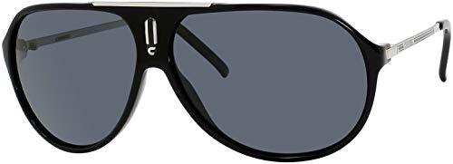 Carrera HOT 0CSA/RA 64M Black/Palladium/Grey Polarized Plastic Aviator Sunglasses For Men For Women+ Free Designer iWear Care Kit