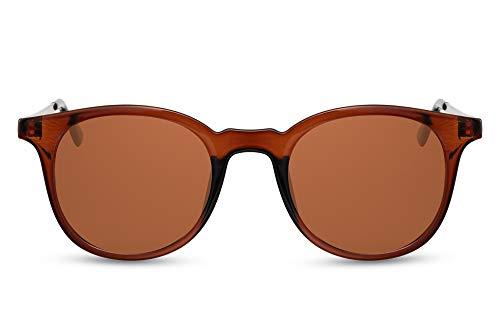 Cheapass Sunglasses - Gafas de sol de primera clase, rectangulares, clásicas, transparentes, marrones, con patillas de Metálicas dorado y lentes marrones con protección UV400 para hombres y mujeres