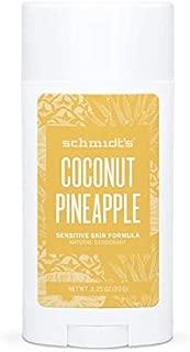 Schmidt's Natural Deodorant for Sensitive Skin - Coconut Pineapple, 3.25 ounces. Stick for Women and Men