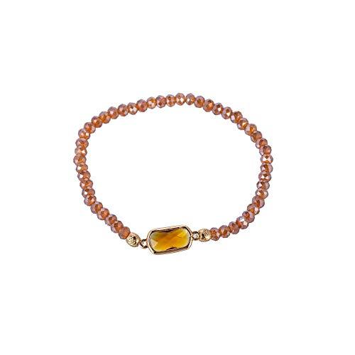 YUDUODUO - Pulsera de cristal elástica estilo étnico, color marrón