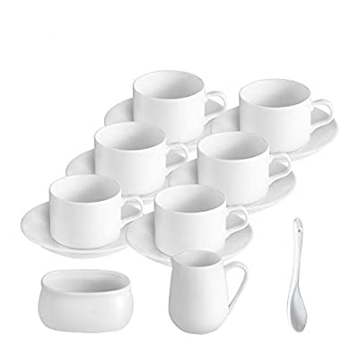 Ceramic coffee cups and saucer, 4.5 oz, perfect for coffee drinks, cappuccino, latte tea, Set of 6 cup and 1 Sugar Bowl 1 Creamer Pitcher 1 spoon, White