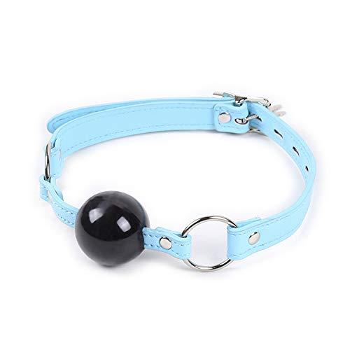 HUSHUS Bola de Silicona Collar de Cuero Plug Juguete (Azul)