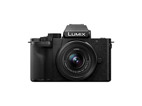Panasonic Lumix DC-G110KEG-K Systemkamera (20 MP, 4K, Bildstabilisator, Sucher, 7,5 cm Touch, 12-32mm Objektiv, schwarz)