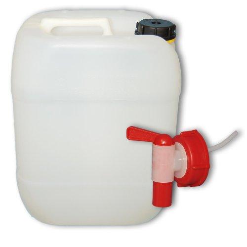 plasteo 20 Liter Getränke- Wasserkanister Natur mit Hahn und Schraubdeckel (DIN 61) | Lebensmittelecht | Tragbar | Indoor und Outdoor | BPA Frei | Made in Germany