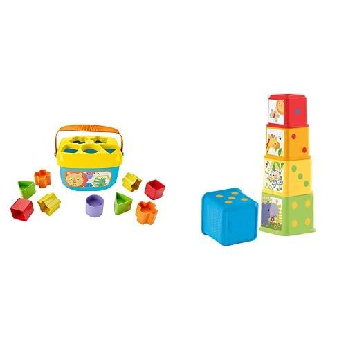 Fisher-Price - Bloques Infantiles, Juguete Bloques Construcción para Bebé +6 Meses (Mattel FFC84) + Bloques apila y descubre, Juguete bebé (Mattel CDC52)