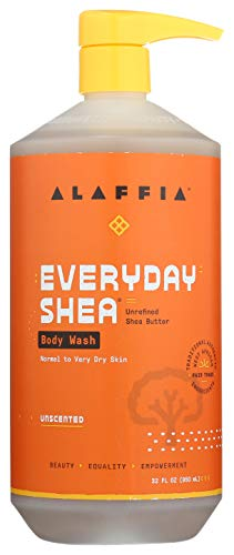 Alaffia - EveryDay Shea Body Wash, Naturally Helps Moisturize and Cleanse without Stripping Natural Oils with Shea Butter, Neem, and Coconut Oil, Fair Trade, Unscented, 32 Ounces
