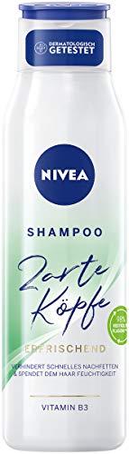 NIVEA Zarte Köpfe Shampoo Erfrischend (300 ml), sanft reinigendes Shampoo erfrischt Haar- und Kopfhaut, pH-optimiertes Haarshampoo verhindert schnelles Nachfetten