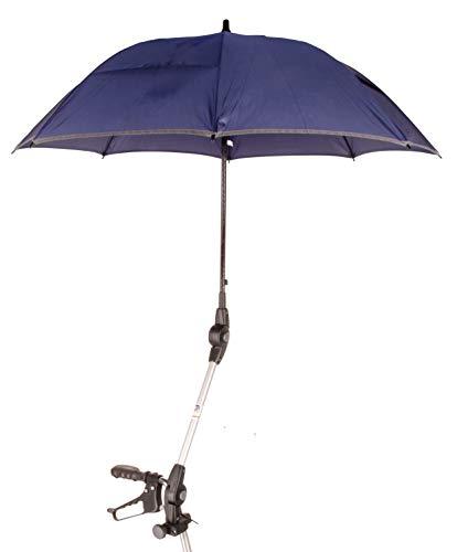 Orig. MPB® Rollatorschirm ST 22/25 SI, 2 Verstellgelenke, für Standard Rollatoren mit 22 mm oder 25 mm Rundrohr, Schirm SI = silber, Mikrofaser-Schirm mit Beschichtung inkl. Schirmhülle