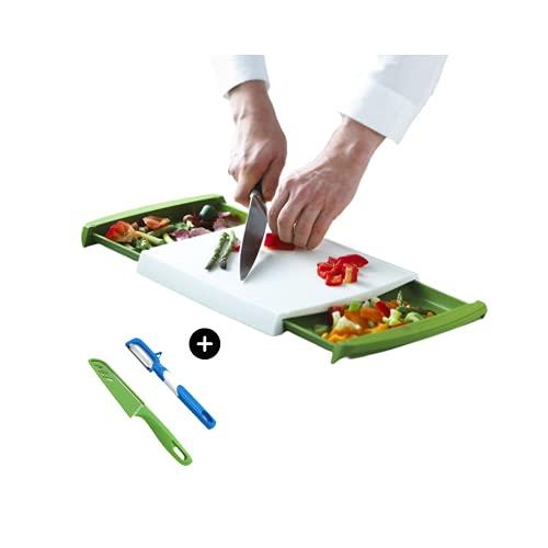 Tabla cortar cocina con accesorio para guardar los alimentos troceados – (regalo cuchillo y pelador de COLOR AL AZAR)